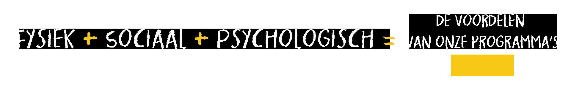 Physique + social + psychologique = les bénéfices de nos programmes